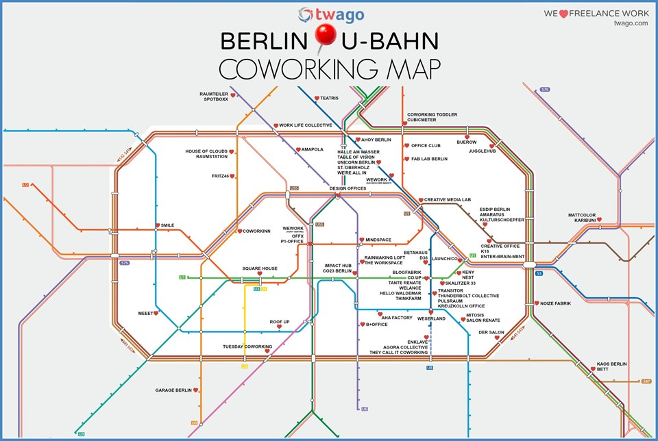 Coworking Spaces In Berlin Bvg Karte Coworking Spaces Blog